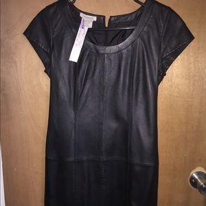 Boston Proper Black leather dress